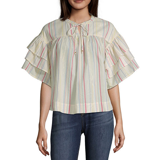 Peyton & Parker Womens Round Neck Elbow Sleeve Blouse