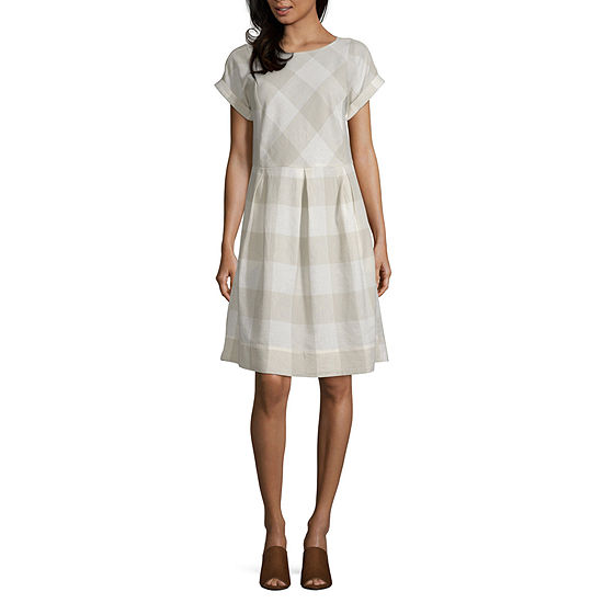 Peyton & Parker Short Sleeve Plaid Midi Sheath Dress