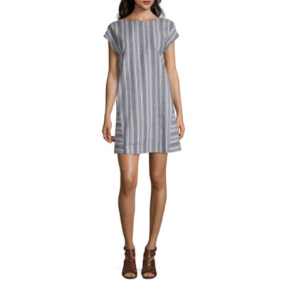 Peyton & Parker Short Sleeve Striped Midi Sheath Dress