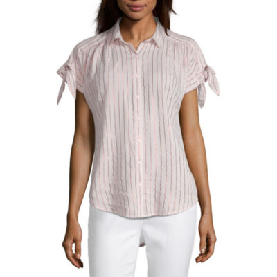 Peyton & Parker Womens Collar Neck Short Sleeve Camp Shirt