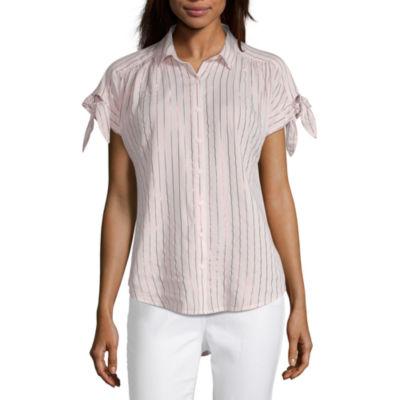 Peyton & Parker Womens Collar Neck Short Sleeve Camp Shirt