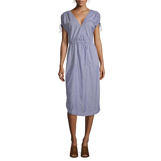 Peyton & Parker Short Sleeve Striped Midi Wrap Dress