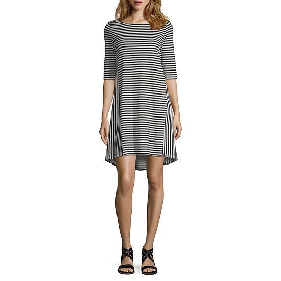 Peyton & Parker Short Sleeve Striped T-Shirt Dresses