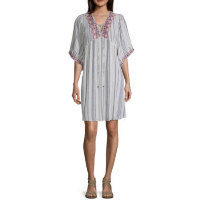 Artesia Short Sleeve Embroidered Empire Waist Dress