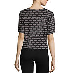 Flirtitude Juniors-Womens Crew Neck Short Sleeve T-Shirt