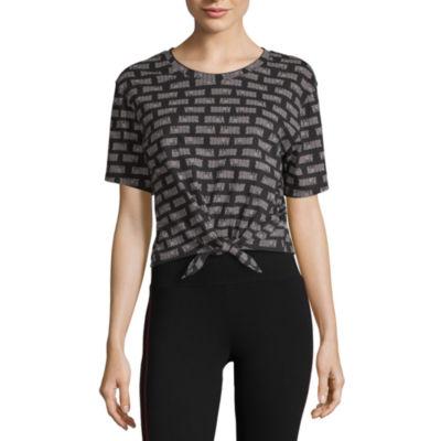 Flirtitude-Womens Crew Neck Short Sleeve T-Shirt Juniors