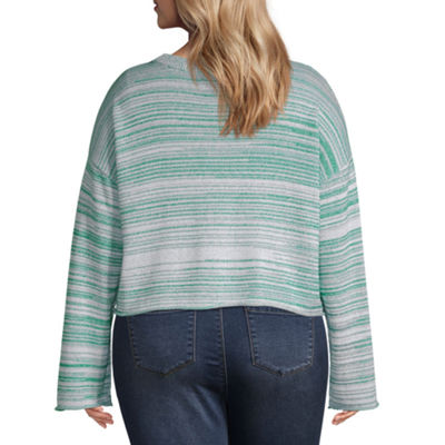 Arizona Womens Round Neck Long Sleeve Striped Pullover Sweater-Juniors Plus
