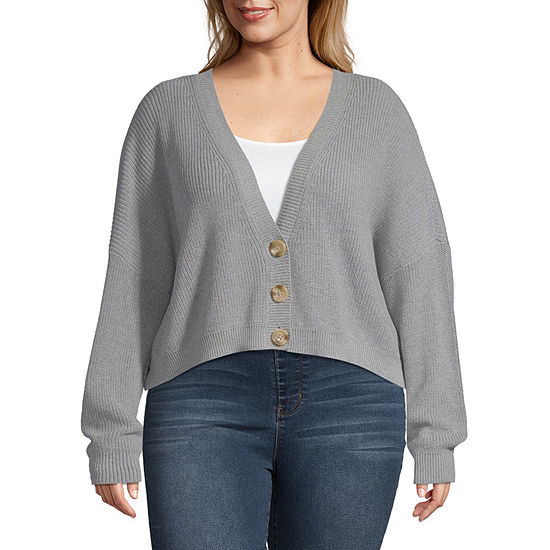 Arizona Womens V Neck Long Sleeve Cardigan-Juniors Plus