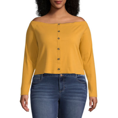 Arizona-Womens Straight Neck Long Sleeve T-Shirt Juniors Plus