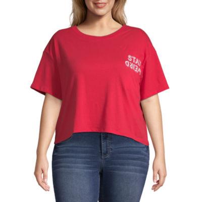 Arizona Womens Round Neck Short Sleeve Graphic T-Shirt-Juniors Plus