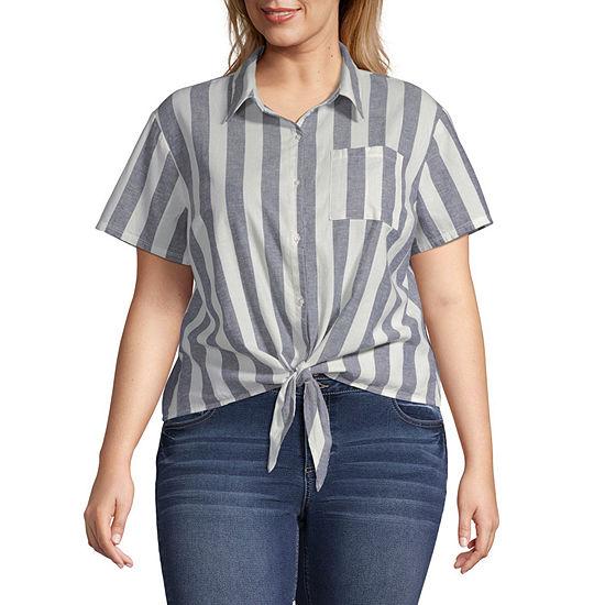 Arizona-Juniors Plus Womens Short Sleeve Regular Fit Button-Front Shirt