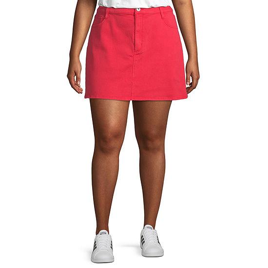 Arizona Womens Mid Rise Short Denim Skirt-Juniors Plus