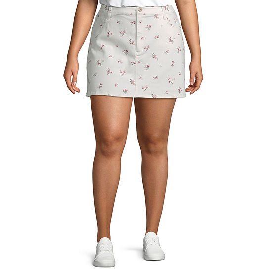 Arizona Womens Mid Rise Short Denim Skirt-Juniors Plus