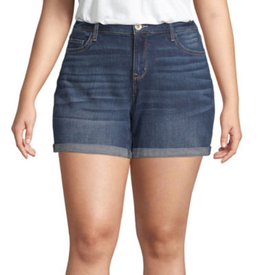 Arizona Womens Low Rise Midi Short-Juniors Plus