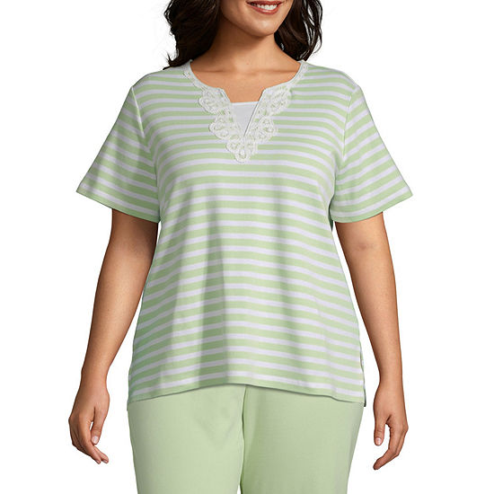 Endless Weekend Alfred Dunner Lace Neck Stripe Top - Plus