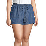 a.n.a Womens 4.5IN Chambray Soft Short - Plus