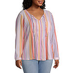 a.n.a Womens Long Sleeve Pintuck Blouse - Plus