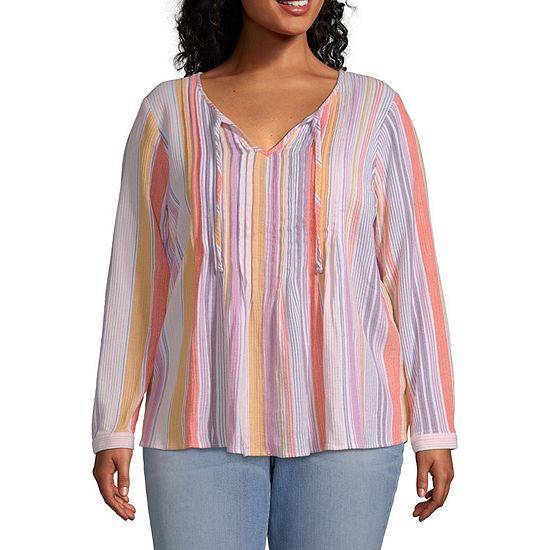 Ana Womens Long Sleeve Pintuck Blouse Plus