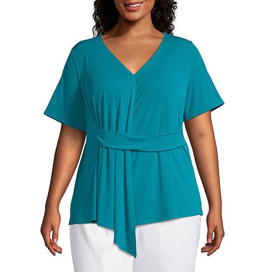 Worthington Womens V Neck Short Sleeve Knit Blouse-Plus