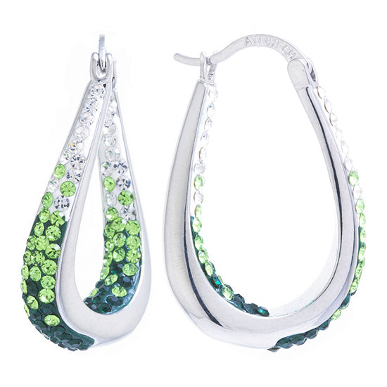 Sparkle Allure Pure Silver Over Brass Crystal Hoop Earrings