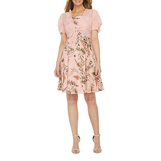 Perceptions Short Sleeve Floral Lace  Jacket Dress