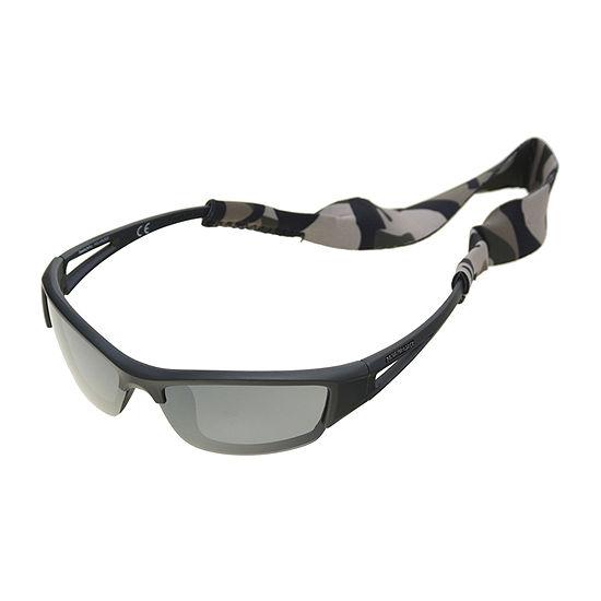 Panama Jack Mens Polarized Half Frame Wrap Around Sunglasses
