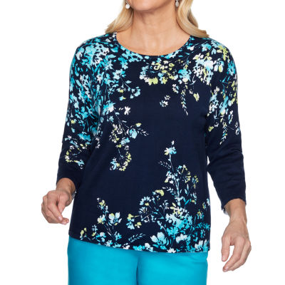 Alfred Dunner Easy Street Womens Round Neck 3/4 Sleeve Floral Pullover Sweater