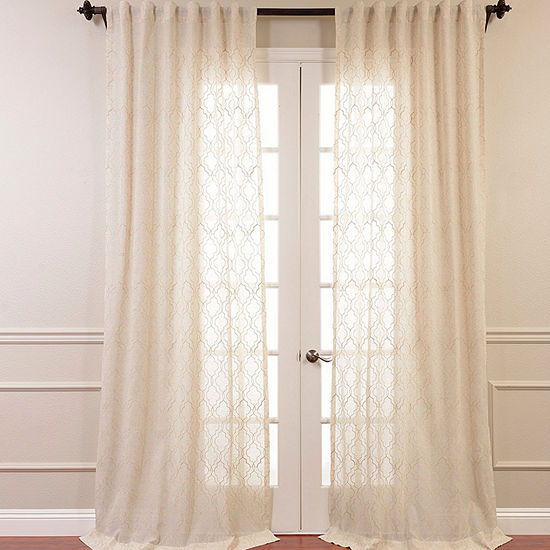 Exclusive Fabrics & Furnishing Saida Embroidered Faux Linen Sheer Curtain Panel