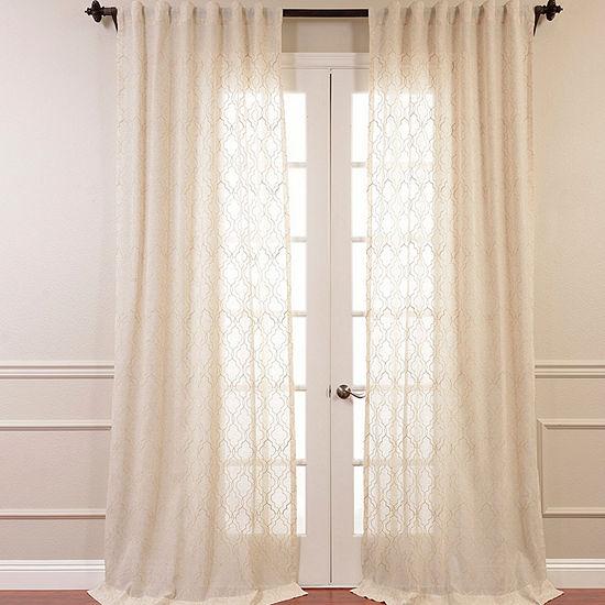 Exclusive Fabrics & Furnishing Saida Embroidered Faux Linen Sheer Curtain Panel