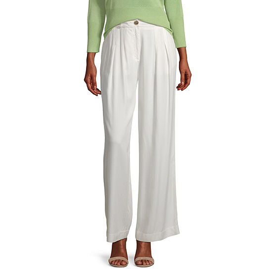 Worthington Womens Pleated Wide Leg Trouser - Tall