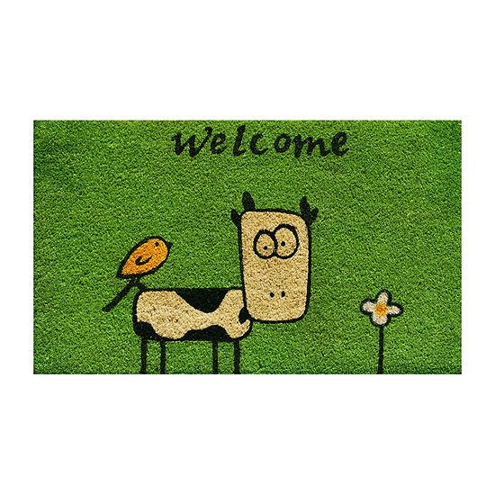 Cute Cow Rectangular Outdoor Doormat