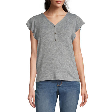 a.n.a-Womens V Neck Short Sleeve T-Shirt, Small , Gray