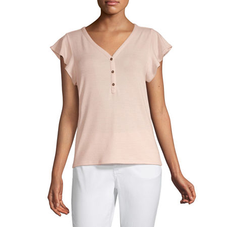 a.n.a-Womens V Neck Short Sleeve T-Shirt, Small , Pink