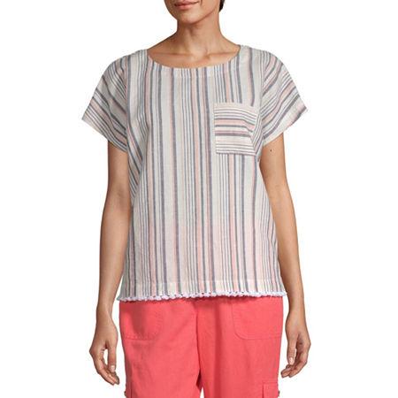 Liz Claiborne Womens Round Neck Short Sleeve Faux Linen Blouse, X-small , Beige