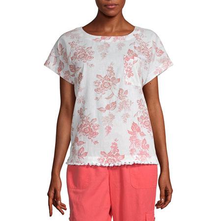 Liz Claiborne-Womens Crew Neck Short Sleeve T-Shirt, X-small , Pink