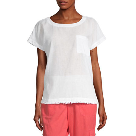 Liz Claiborne Womens Crew Neck Short Sleeve T-Shirt, Small , White