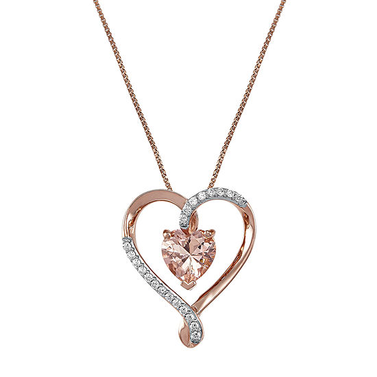 Womens Simulated Pink Morganite Heart Pendant Necklace