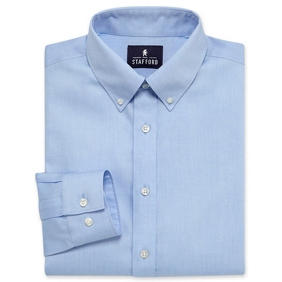 Stafford Executive Non-Iron Cotton Pinpoint Oxford-Big & Tall Mens Button Down Collar Long Sleeve Dress Shirt