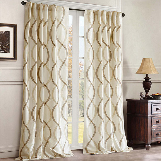 Madison Park Marcel Rod-Pocket/Back-Tab Embroidered Taffeta Curtain Panel