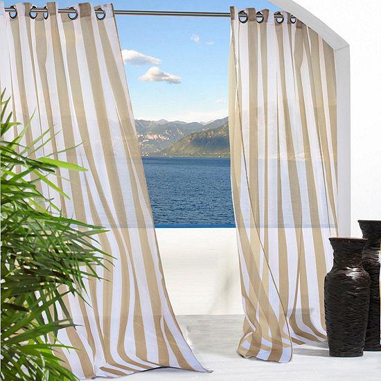 Escape Stripe Indoor/Outdoor Grommet-Top Single Outdoor Curtain Panel