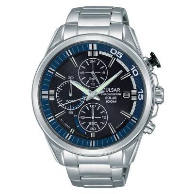 Pulsar Mens Silver Tone Bracelet Watch-Pz6021