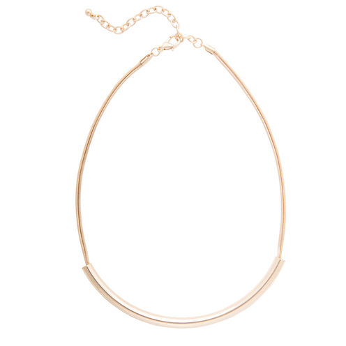 Bold Elements™ Polished Gold-Tone Curved Bar Necklace