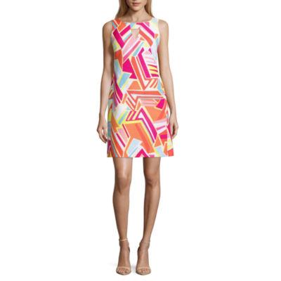 Ronni Nicole Sleeveless Geometric Sheath Dress-Petites