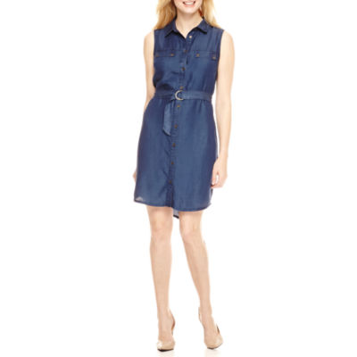Ronni Nicole Sleeveless Shirt Dress-Petites