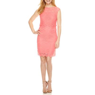 Melrose Short Sleeve Lace Sheath Dress-Petite