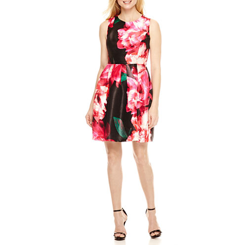 DR Collection Sleeveless Floral Fit & Flare Dress-Petites
