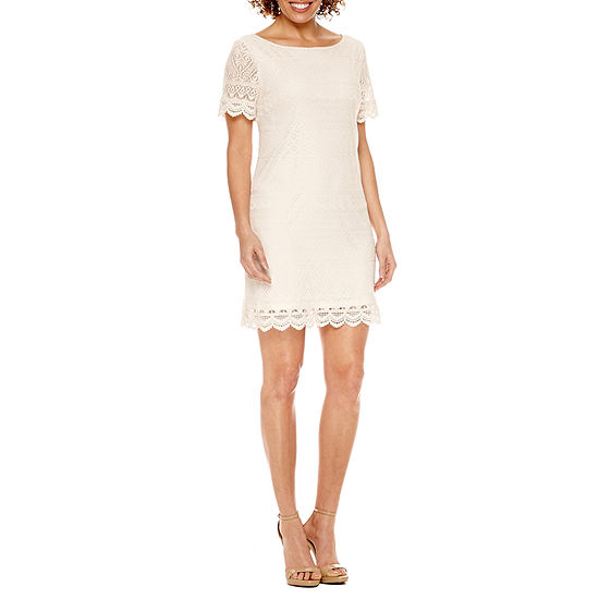London Style Short Sleeve Lace Shift Dress-Petite