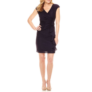 Black Label by Evan-Picone Cap Sleeve Lace Sheath Dress