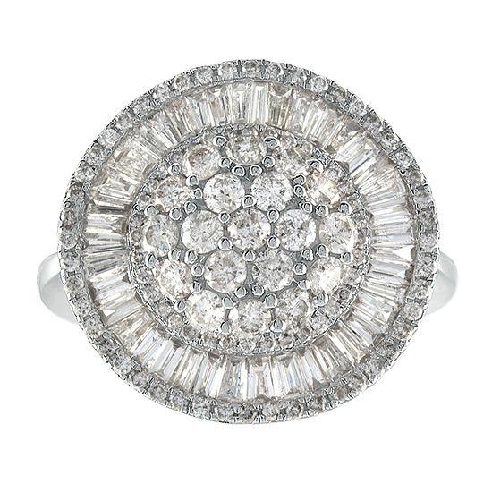 Womens 2 CT. T.W. Genuine White Diamond 14K White Gold Cocktail Ring