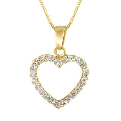 Womens 1/4 CT. T.W. Genuine White Diamond 14K Gold Pendant Necklace